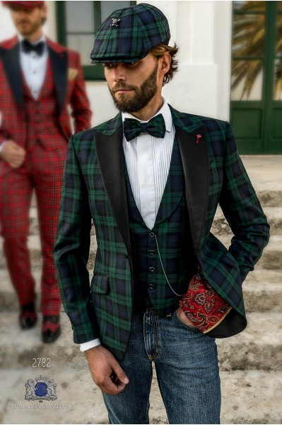 Green Tartan plaid tailored fit italian men tuxedo Blazer