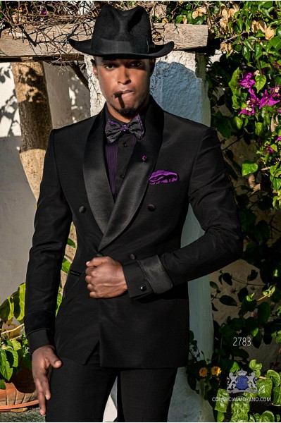 Black tailored fit italian double breasted tuxedo with shawl collar