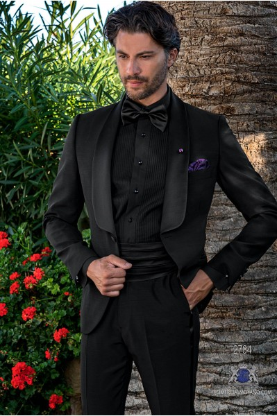 Black tailored fit italian tuxedo with shawl collar