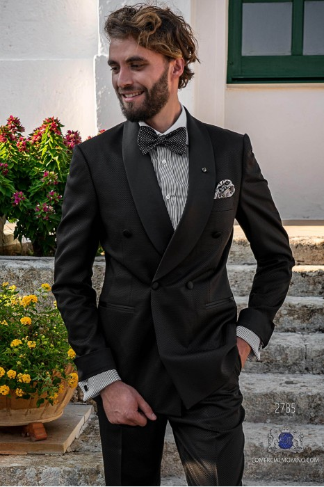 Black micro check tailored fit italian double breasted tuxedo with shawl collar