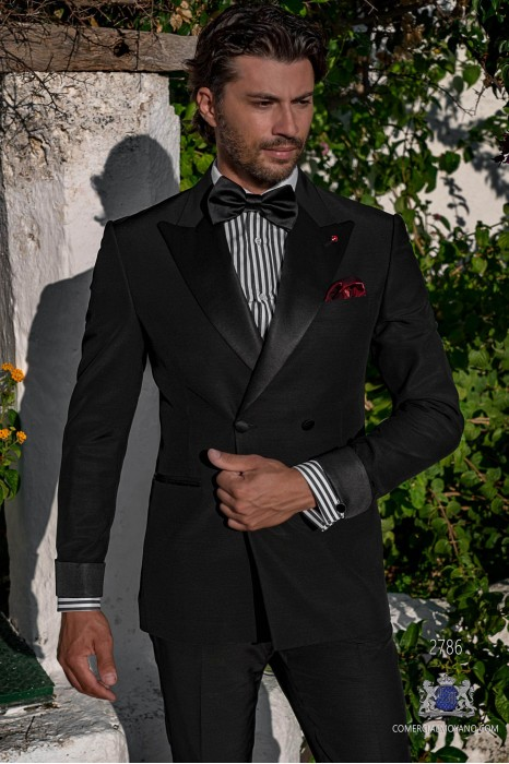 Black tailored fit italian double breasted tuxedo with peak lapels