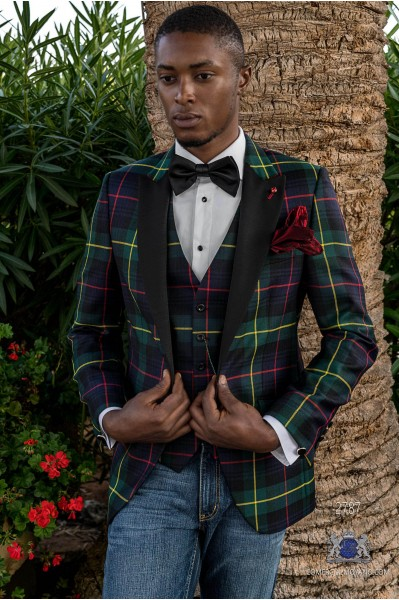 Green Tartan plaid tailored fit italian tuxedo Blazer