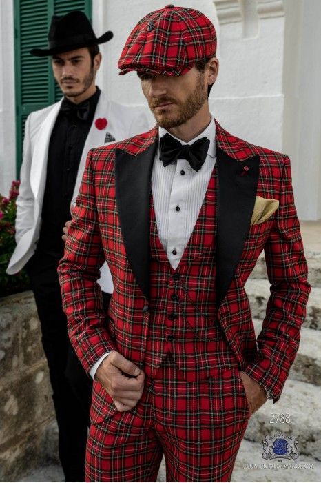 Red Tartan plaid tailored fit italian tuxedo with black peak lapels
