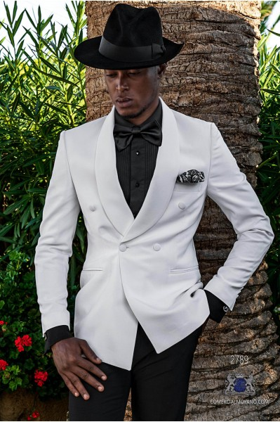 White tailored fit italian double breasted tuxedo with shawl collar