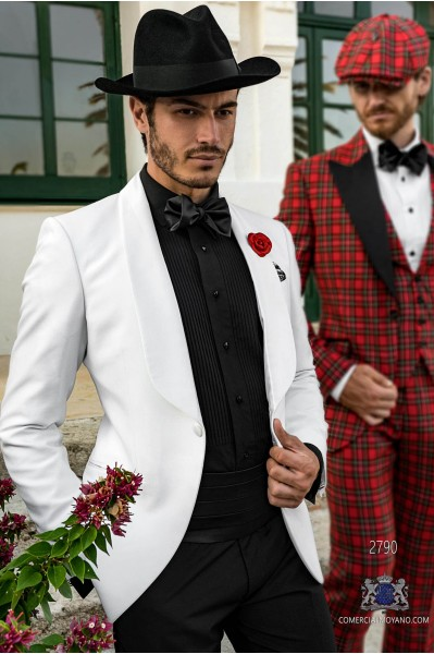 White tailored fit italian tuxedo with shawl collar