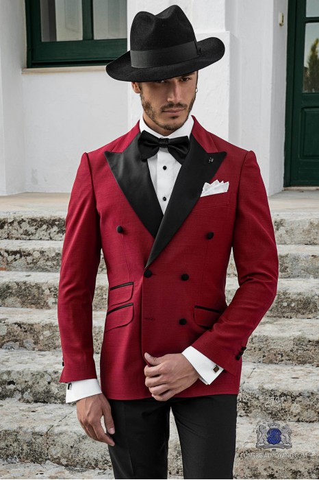 Garnet tailored fit italian double breasted tuxedo with peak lapels