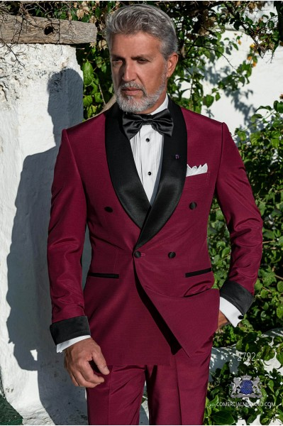 Puerple tailored fit italian double breasted tuxedo with black shawl collar