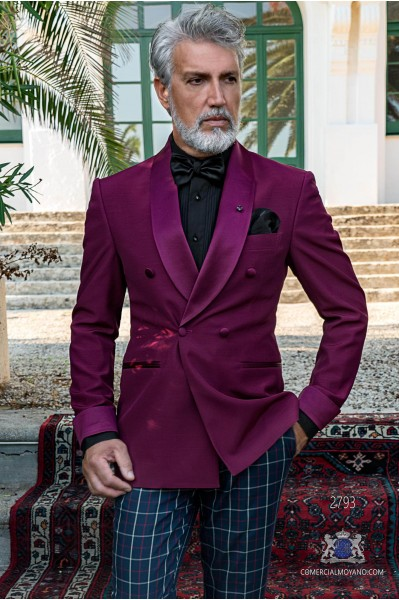 Purple tailored fit italian double breasted tuxedo with shawl collar