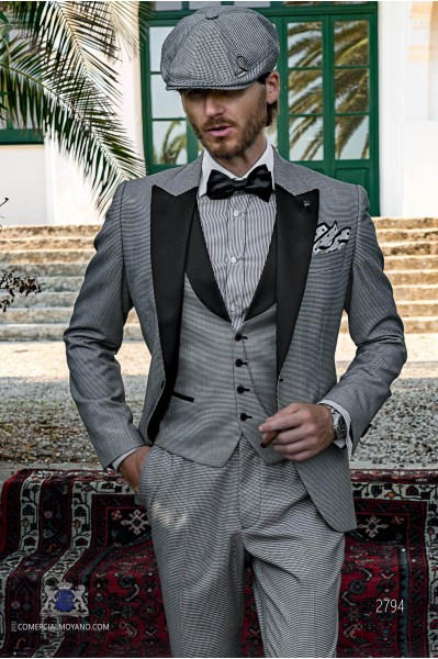 Grey houndstooth tailored fit italian tuxedo with black peak lapels