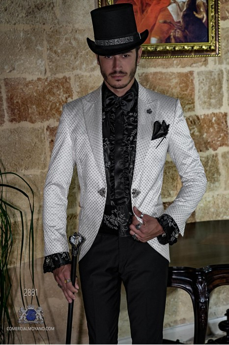 White gothic frock coat embroidered silver on satin fabric Italian cut slim fit