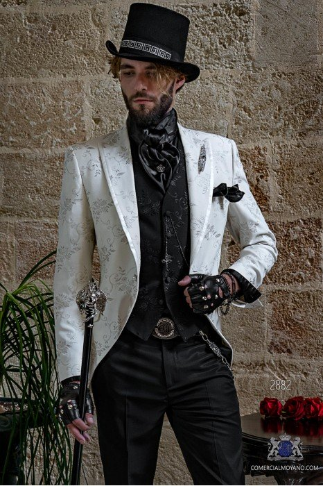 White gothic frock coat silver floral embroidery Italian cut slim fit