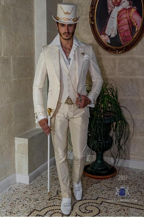 Ivory gothic suit shantung silk jacquard fabric Italian cut slim fit