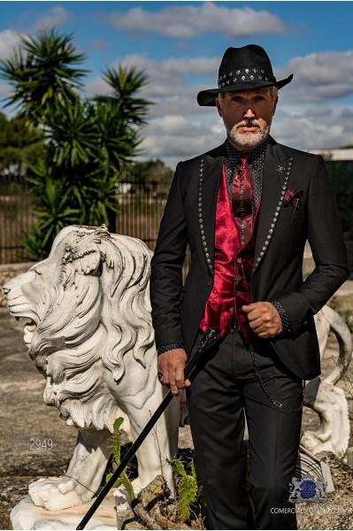 Black gothic wedding suit with skulls on the lapels Italian cut slim fit