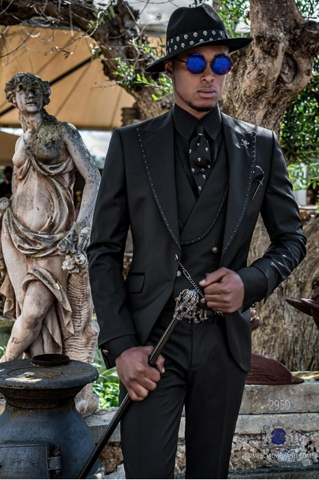 Black gothic wedding suit with metal balls on the lapels Italian cut slim fit