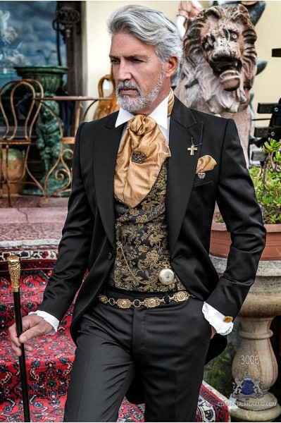 Black gothic tailored fit italian morning suit Steampunk style