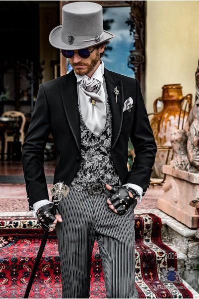 Black gothic tailored slim fit italian morning suit satin profile on lapels