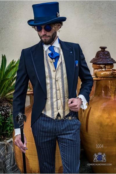 Blue gothic tailored slim fit italian morning suit satin profile on lapels
