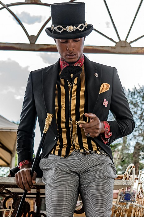 Black Steampunk tailored fit italian morning suit