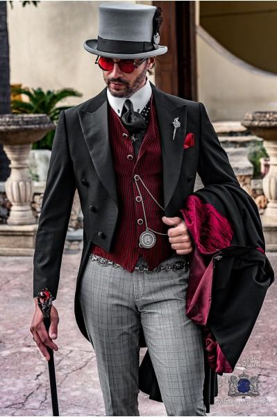 Black Steampunk tailored slim fit italian tailcoat