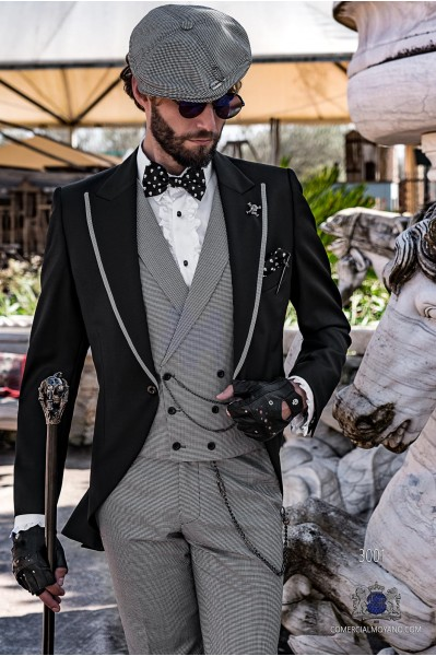 Black gothic tailored slim fit italian morning suit houndstooth profile on lapels
