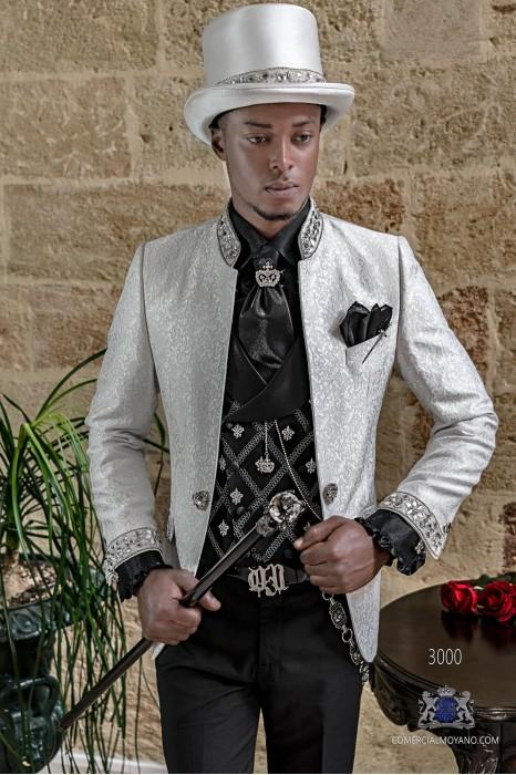Gothic white jacquard suit mao collar with rhinestones
