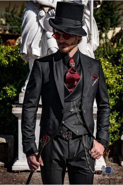 Black pinstripe gothic wedding frock coat with strass on lapels