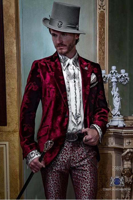 Red velvet gothic suit with florel designs Italian cut slim fit