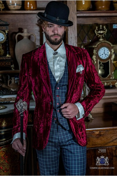 Garnet steampunk tuxedo in wrinkled effect velvet with fitted Italian cut
