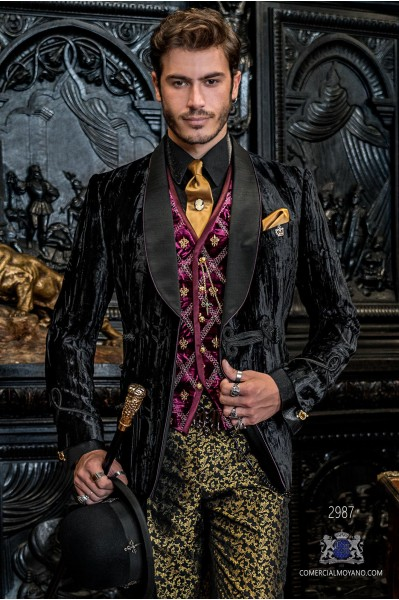 Black steampunk double breasted tuxedo in wrinkled effect velvet with fitted Italian cut