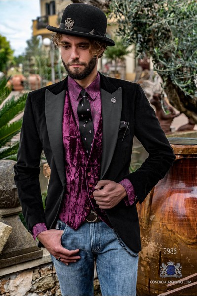Black velvet tailored fit italian Steampunk tuxedo with satin peak lapels