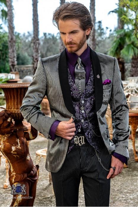 Grey pinstripe velvet tailored fit italian Steampunk tuxedo with satin shawl collar