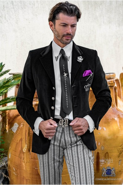 Black velvet tailored fit italian Steampunk wedding suit with crown embroidery on chest