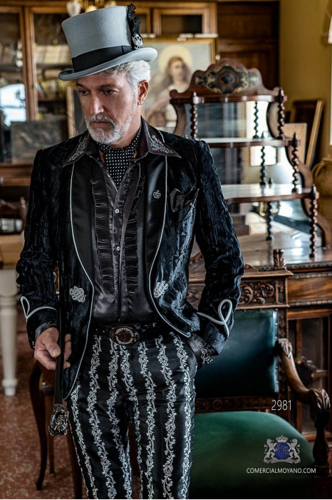 Black wrinkled velvet Aristocratic steampunk tuxedo with fitted Italian cut