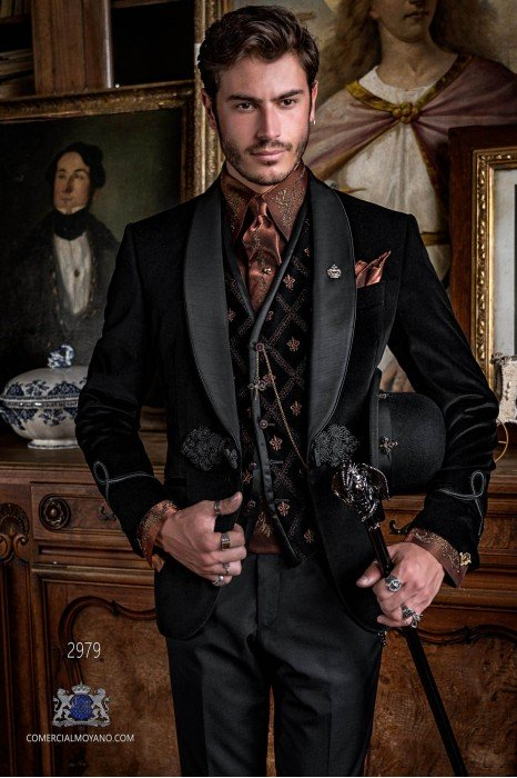 Black velvet Aristocratic steampunk tuxedo with fitted Italian cut