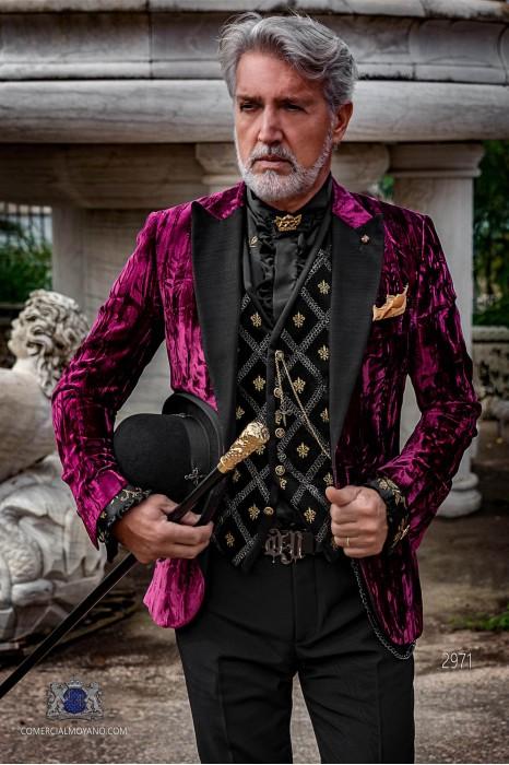 Garnet wrinkled velvet steampunk tuxedo with black peak lapels fitted Italian cut