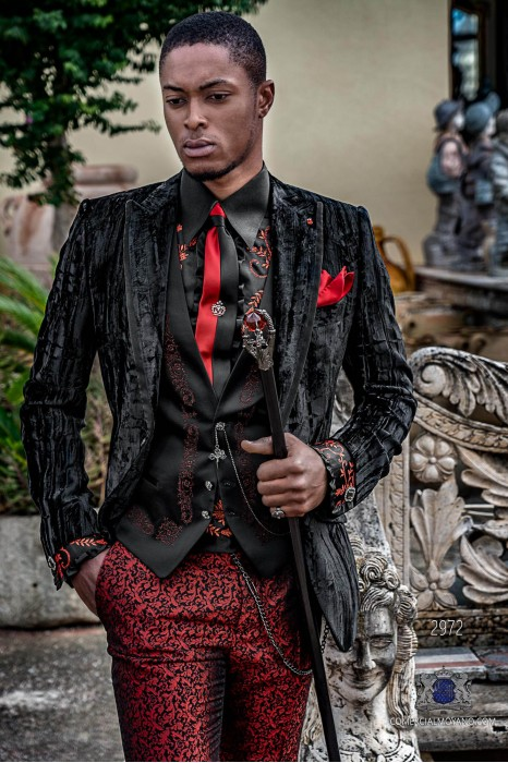 Black wrinkled velvet Aristocratic steampunk suit with fitted Italian cut