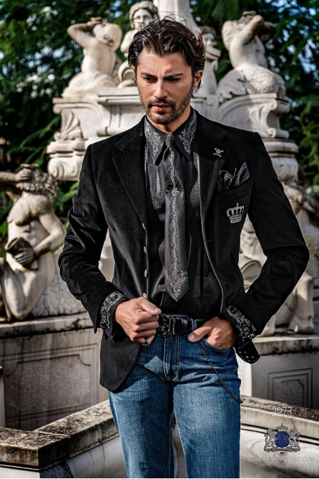 Black velvet tailored fit italian Steampunk fashion blazer with crown embroidery on chest