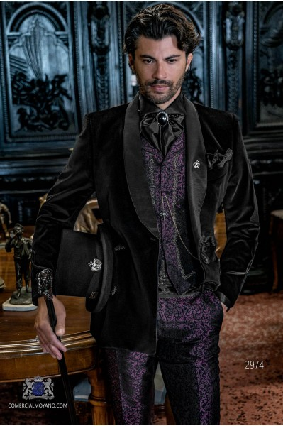 Black velvet Aristocratic steampunk double breasted tuxedo with fitted Italian cut