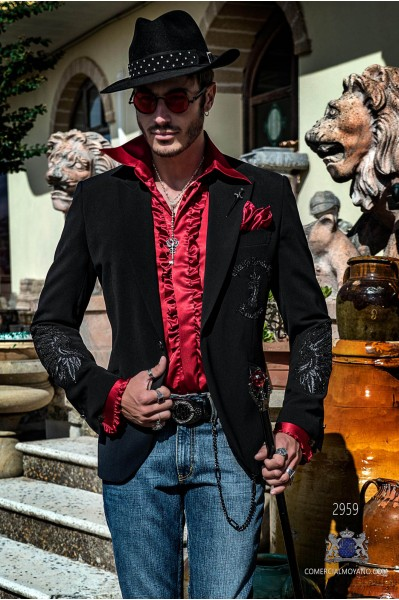 Black velvet tailored fit italian Steampunk fashion blazer with Eagle embroidery in rhinestones