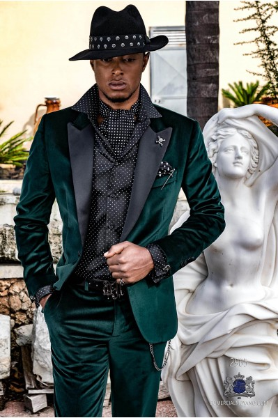 Green velvet tailored fit italian Steampunk tuxedo with satin peak lapels