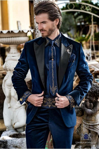 Blue velvet tailored fit italian Steampunk tuxedo with satin peak lapels