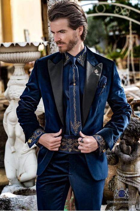 Blue velvet tailored fit italian Steampunk tuxedo with satin peak lapels