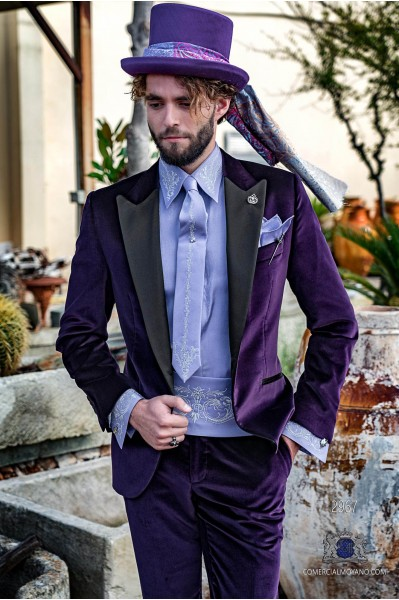 Purple velvet tailored fit italian Steampunk tuxedo with satin peak lapels