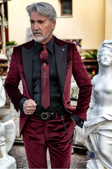 Garnet velvet tailored fit italian Steampunk tuxedo with satin peak lapels