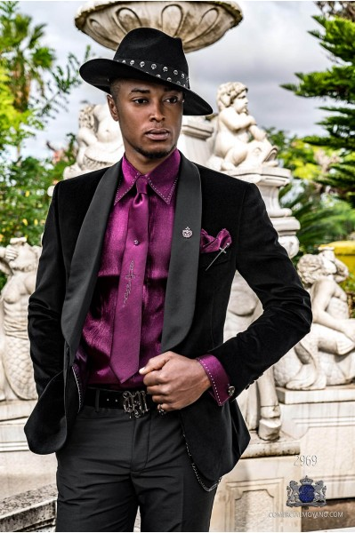 Black velvet tailored fit italian Steampunk tuxedo with satin shawl collar
