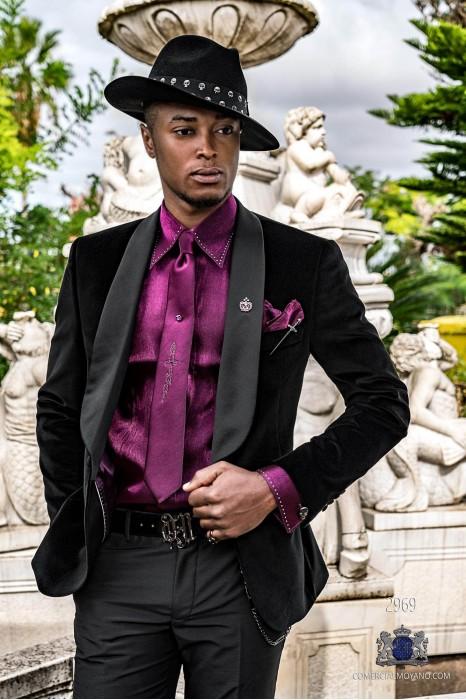 Black velvet tailored fit italian Steampunk tuxedo with satin shawl collar