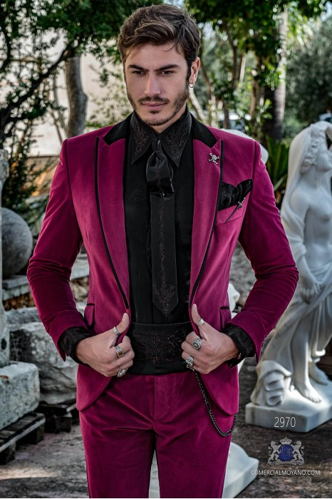 Magenta velvet tailored fit italian Steampunk tuxedo with black satin profile on lapels