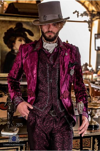 Garnet wrinkled velvet steampunk tuxedo peak lapels fitted Italian cut