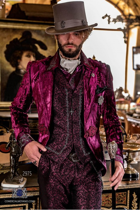 Garnet wrinkled velvet steampunk tuxedo peak lapels fitted Italian cut