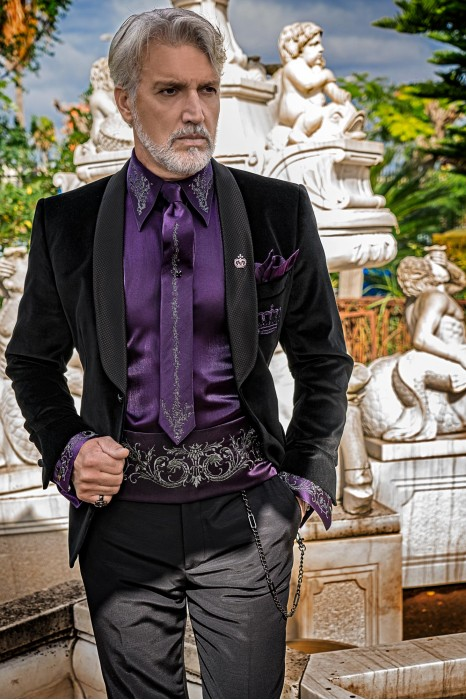 Black velvet tailored fit italian Steampunk tuxedo with crown embroidery on chest